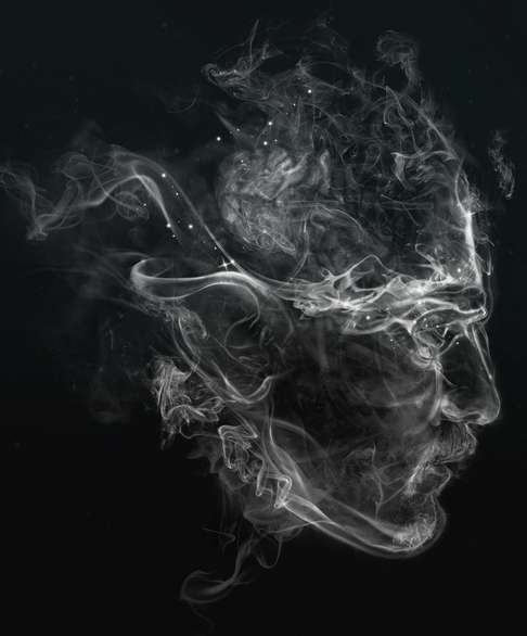 An image of a human head made by smoke