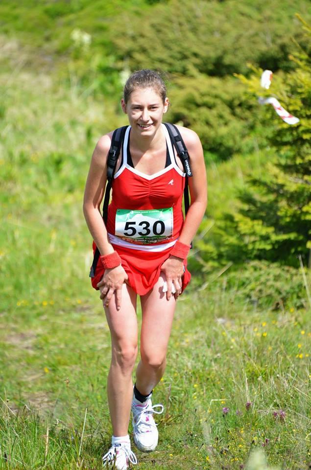 Laura girl running on the mountain